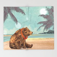 Beach Bear Throw Blanket