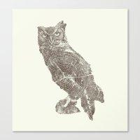 Wood Grain Owl Canvas Print