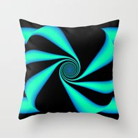 Abstract. Turquoise+Black. Throw Pillow