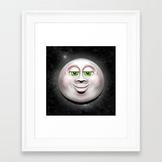 Full Moon Smiling Face 3D  Framed Art Print
