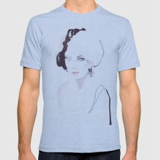 Fashion illustration in watercolors Mens Fitted Tee Athletic Blue SMALL