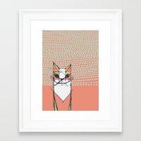 Cubist Cat Study #7 by Friztin Framed Art Print