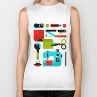 Biker Tank featuring Sewing Kit by koivo