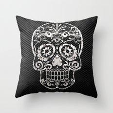 Skull 04,black silver metal art Throw Pillow