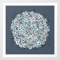 Flower Circle, mist blue Art Print