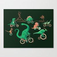 Dinosaurs On Bikes! Canvas Print