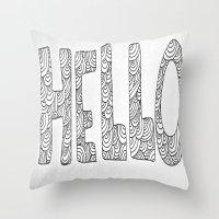 Wavy Hello Throw Pillow