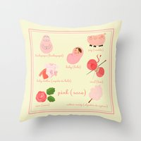 Colors: pink (Los colores: rosa) Throw Pillow