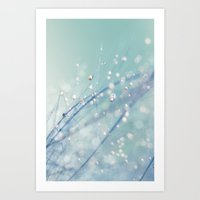 Dreamy Feather Drops Art Print