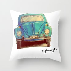 Fusca Azul Throw Pillow