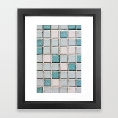 Turquoise Blue Tile Pattern Framed Art Print