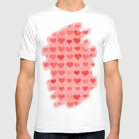Pink Valentines Love Hea… Mens Fitted Tee White SMALL