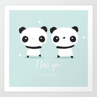 Panda in love  Art Print