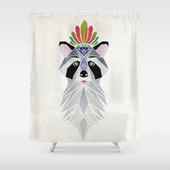 raccoon spirit Shower Curtain
