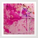 pink floral on crumbling wall Art Print