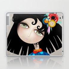 Black Hair Huge Green Eyes Laptop & iPad Skin