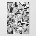 City and Shadow, Film Noir Canvas Print