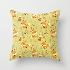 Foxes in the Spring Throw Pillow