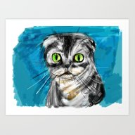 Scottish Fold Cat Art Print