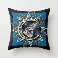 Wolf Emblem Throw Pillow