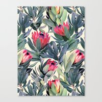 Painted Protea Pattern Canvas Print