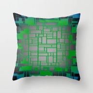 Teal Green Art Deco Patt… Throw Pillow