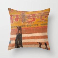 Doing Yoga on the Ghats Throw Pillow