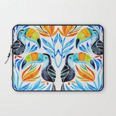 Tropical Toucans – Blue Leaves Laptop Sleeve