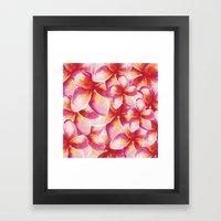 Plumeria Floral Watercolor Framed Art Print