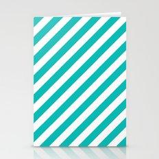 Diagonal Stripes (Tiffany Blue/White) Stationery Cards