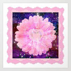 Pink flower with sparkles  Art Print