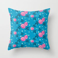 Roses on blue Throw Pillow
