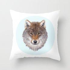 Grey wolf portrait Throw Pillow