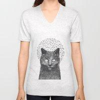 Dandelion black cat Unisex V-Neck