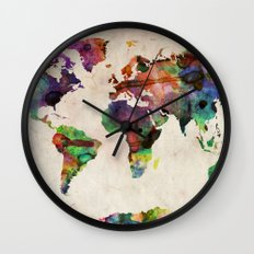 World Map Urban Watercol… Wall Clock