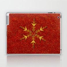 Golden Snowflake on Red Glitters Laptop & iPad Skin