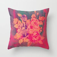 Vintage Pink Flowers  Throw Pillow