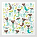 Quirky pugs and mermaids under water world Art Print