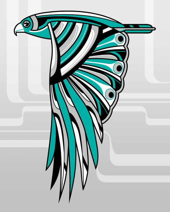 Hawk Deco II Art Print