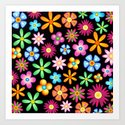 Spring Flowers Colorful Naif Design Art Print