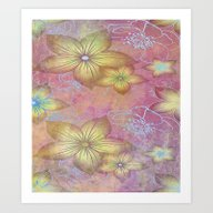 Softly Textured Floral Art Print