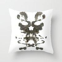 Inkblot Skull Throw Pillow
