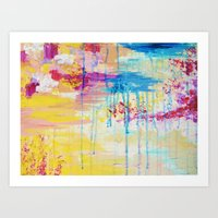 BRIGHTER DAYS - Beautiful Soft Pastel Colours Painting Rain Cloud Sunny Sky Abstract Nature Acrylic Art Print