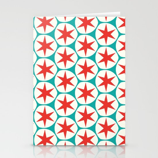 Retro Red Stars Pattern Stationery Card