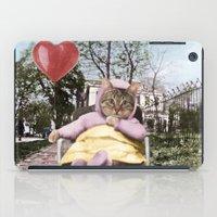 Pretty little Kitty with a heart balloon iPad Case