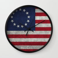 The Betsy Ross flag of the USA - Vintage Grungy version Wall Clock