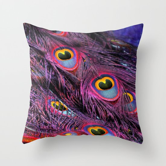 Purple peacock Throw Pillow
