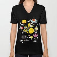 Happy Flight / The Animals Hot Air Balloon Voyagers / Patterns / Clouds Unisex V-Neck