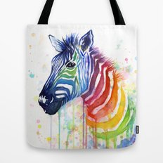 Zebra Watercolor Rainbow Painting   Ode to Fruit Stripes Tote Bag