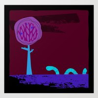 Where does the wiggly worm wander? Art Print